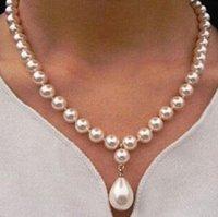 colgante 12x16mm al por mayor-Joyería de perlas finas 100% natRound South Sea Pearl 12x16mm Drop Colgante Collar plata