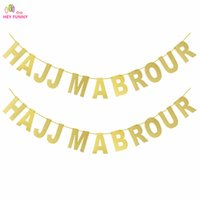 Wholesale glitter banners resale online - 1 set Gold HAJJ MABROUR Banner Glitter Paper Garland Party Decoration Islamic Muslim Festival Bunting Ramadan Mubarak Decoration
