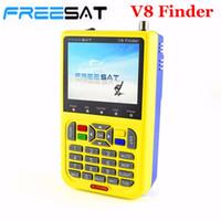 ingrosso contatore di segnale hd-Freeshipping V8 Finder HD Satellite Finder digitale Meter DVB-S2 FTA LNB Signal Pointer Satellite TV Receiver Tool con LCD 3,5 ''