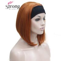 lindas cintas de color naranja al por mayor-Cute BOB 3-4 Peluca con diadema Naranja Marrón Recto Pelucas de medio cabello corto para mujer OPCIONES DE COLOR