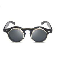 yuvarlak güneş gözlüğü stili unisex toptan satış-Flip Up Güneş Erkekler Yuvarlak Vintage 2018 Steampunk Kadınlar Için Unisex Retro Siyah Çerçeve Güneş Gözlükleri Daire Lens Punk Tarzı Shades