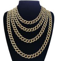 elmas taklidi mücevher bağlantıları toptan satış-Tasarımcı takı Buzlu Out Bling Rhinestone Kristal Goldgen Bitirmek Miami Küba Link Zinciri erkek Hip hop Kolye Takı 18, 20, 24, 30 Inç