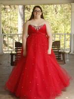 ingrosso il vestito da sera ha pieghettato il collare-Sweethert collo collo Plus Size Prom Dresses Elegant Beaded Crystal Ball Party Dress Layered pieghe in rilievo abiti da sera formale