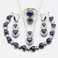 ingrosso collana orecchini blu-Water Drop 4PCS Long Earrings Pendant Necklace Ring Bracelet Fashion Party 925 Set di gioielli in argento zirconi blu per le donne W369