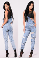 Wholesale jean jumpsuits clothing resale online - Women Overalls Washed Denim Jeans Jumpsuits Long Trousers Pants Fashion High Street Cool Jeans Suits Women Clothes Loose Jeans Outfit