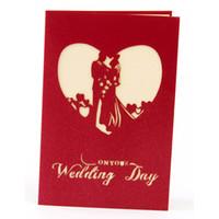 hochzeitseinladungen rotes 3d großhandel-10PS Hochzeitskarten 3D Kreative Hochzeitseinladung Segen Karte mit Rote Abdeckung Hochzeitskarten Einladung 2018 Party Dekoration