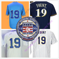Wholesale milwaukee blue - Robin Yount Jersey With 1999 Hall Of Fame Patch Milwaukee Cooperstown Jersey Home Away Blue White Pinstripe Pullover