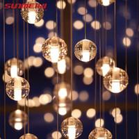 modern cam kolye led ışık toptan satış-LED Kolye Merdiven Işıkları Çatı Kahve Yatak Odası Aydınlatma cilalar e pendentes para sala de jantar Modern Cam Kolye Lambaları