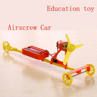 Wholesale Force Wind - Electric Airscrew Racing Car DIY Assembly Model Kid Toy Aerodynamic Power-driven wind-force F1 aerial propeller handmade model toy