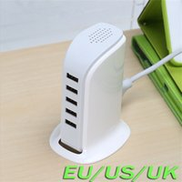 Wholesale 5v 6a - Real 30W 5V 6A Multi USB Charger Travel Power Tower 5 Ports USB Charger For Samrtphone Tablet PC