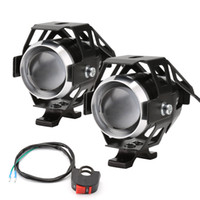 u5 önde gelen motosiklet far toptan satış-Pampsee 2 adet Motosiklet LED Far 125 W 3000LM U5 Su Geçirmez Sürüş Spot Kafa Lambası Sis Işık Anahtarı Motosiklet Aksesuarları