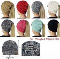 Wholesale hole warmer - Women CC Ponytail Caps CC Knitted Beanie Fashion Girls Winter Warm Hat Back Hole Pony Tail Autumn Casual Beanies Crochet Hats KKA3864