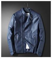 erkek deri ceketleri toptan satış-Erkek Mavi Motosiklet Deri ceket Erkekler Slim Fit Kırmızı Rahat Ceket Ceket Sonbahar Kış Deri Giyim Rüzgarlık