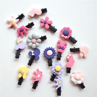 sevimli kız saç aksesuarları toptan satış-20 Adet / grup Sevimli Çiçek Yay Karikatür Saç Aksesuarları Saç Klipler Kızlar Için Sevimli Çocuk Çocuklar Için Tokalar Renkli Hairgrips