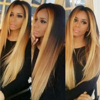 bakire muz peruklar toptan satış-T # 1b / # 4 / # 27 Sarışın Ombre Tam Dantel İnsan Saç Peruk Bakire brezilyalı Tutkalsız Dantel Ön Peruk Siyah Kadınlar Için Ombre U Parçası Peruk