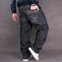 pantalones de skate al por mayor-Pantalones largos de moda suelto casual más gordo pantalones anchos de skateboard hip-hop jeans Jeans de los hombres