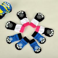calcetines para perro al por mayor-Encantadores Calcetines para Mascotas Para Perro Gato Lindo Algodón Suave Anti Slip Knit Weave Calcetines Skid Bottom Puppy Shoes Clothes Warm 5yc Y