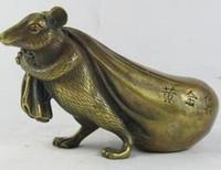 vintage maus großhandel-free Oriental Vintage Bronze Signierte Statue aus Messing Kupfer Glück Glückliche Statue Maus schnell