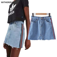 Wholesale Aa Side - freeshipping Denim skirts womens 2017 spring england preppy style The side bar AA wind A-line Sexy mini burrs women denim skirt