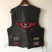 casacos mais legais para homens venda por atacado-Legal Genuíno Couro De Ovelha Do Punk Colete Escondido Carry Biker Vest com Patches Harley Motocicleta Jaquetas Homens Casuais Colete Sem Mangas Camisa