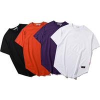 chemise blanche étendue achat en gros de-Summer Kanye Men Extend Couleur Pure col rond manches longues T-shirt en coton lâche noir blanc orange