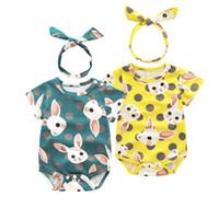 traje de conejo al por mayor-Ins Baby Lovely Lovely patrón de conejo mameluco con nudo arco diadema onesies infantil monos niños mono ropa boutique