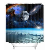 sistema de tela al por mayor-Nuevas cortinas de ducha 3D 7 Big Planet Space System Pattern Telas impermeables Productos de baño Cortinas Baño lavable