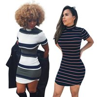 Wholesale black white striped mini dress - Hot Sale O Neck Striped Dress Woman Sheath Streetwear Short Sleeve Dresses Summer Women Clothing
