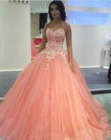 Wholesale neck covering prom dresses resale online - 2019 Vintage Cheap Ball Gown Quinceanera Dresses Sweetheart Peach Pink White Lace Appliques Beaded Tulle Sweet Party Prom Evening Gowns