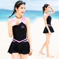tek parça banyo uygun etekler toptan satış-VERZY Pretty One Piece Mayo Etek Kadın Plaj Mayo Elbise Plaj Sevimli Seksi A-Line Baskı Genç Bayanlar Mayo SQ18047