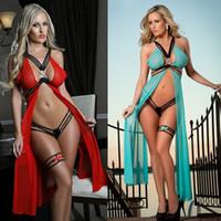 jupe rouge sexe achat en gros de-Lingerie Sexy Femmes Slips Sex Lingerie Sexy Costumes Sous-vêtements de nuit intimes Sous-vêtements Transparent Poitrine Split Jupe Bleu Noir Rouge