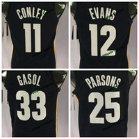 Wholesale Black Evans - 2017 New 11 Mike Conley 33 Marc Gasol 25 Chandler Parsons 12 Tyreke Evans Basketball Jerseys College Stitched Shirts