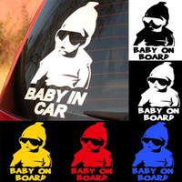 Wholesale baby board window stickers resale online - 2018 Car Styling Baby on board Reflective Funny Car Stickers and Decals Black White Motorcycle Stickers Auto Accessories