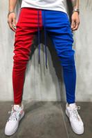 ingrosso mens pantaloni sportivi-Pantaloni sportivi slim fit da uomo Pantaloni con coulisse a righe Pantaloni a blocchi di colore Pantalone da jogging Pantalone sportivo Hip Hop Pantaloni lunghi