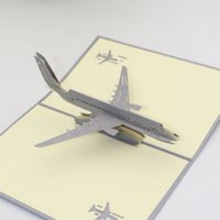 Wholesale greeting cards for sale - Hand Made Pop Up D Greeting Cards Three Dimensional Airplane Design Postcards Creative Thank You Card Hot Sale zy BB