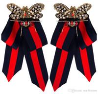 ingrosso tela di legame-New Fashion Dress Shirt Bow Pin Spille Handmade Tie Corsage Broach Tessuto di tela Collare di cristallo Bowknot Spille Gioielli per le donne H415R