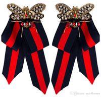 broches de tecido de moda venda por atacado-Nova Moda Camisa de Vestido Bow Pin Broches Handmade Tie Corsage Broche Tecido De Lona De Cristal Colar Bowknot Broches Jóias Para As Mulheres H415R
