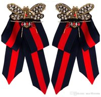camisa corbata pin collar al por mayor-Nueva Moda Camisa de Vestir Arco Pin Broches Hecho A Mano Corbata Broche de Tela de Lona Broche de Cristal Collar Bowknot Broches Joyería Para Mujeres H415R