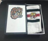 meias de tamanho único venda por atacado-Novo high end cabeça tigre bordado meias de algodão designer meias casuais para homem e mulheres um tamanho para venda