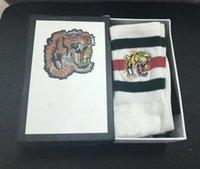 bir beden çorap çorabı toptan satış-Yeni Yüksek son kaplan kafası nakış çorap pamuk adam ve kadınlar için rahat tasarımcı çorap satılık bir boyut