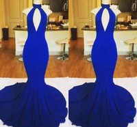 Wholesale white girls special occasion dresses online - Unique Sexy Royal Blue High Neck Prom Dresses Sleeveless Mermaid Girls Chapel Train Decent Evening Dresses Special Occasion Dresses