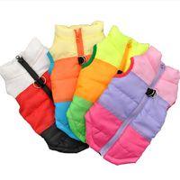 köpek toka toptan satış-Pamuk Yastıklı Giysiler Kalınlaşma Yelek Köpek Toka Ile Çekiş Sıcak Kış Coat Pet Malzemeleri Pamuk Ceket Ropa Para Perros 12 5jh gg