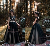 Wholesale Yellow Lovely Gowns - 2018 Lovely Black Flower Girls Dresses for Teens Short Capped Sleeves A Line Tulle Floor Length Beach Girls Pageant Gowns Custom Made