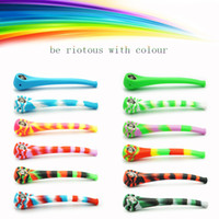 Wholesale reggae smoke - Reggae Color Food-Grade Silicone Smoking Pipe Funny Skull Pattern hand pipe with Cap Bowl Cigarette Filter Holder Silicone Tobacco Pipe