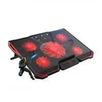 rote kühlkissen großhandel-Laptop-Kühler mit 5 Lüftern 2 USB-Anschlüsse Rotes Rücklicht und Notebook-Kühlkissen für 15,6 17 18 19 Zoll Computerständer einstellbar