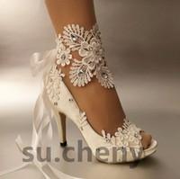 fildişi çiçek topuklu ayakkabı toptan satış-Kadın Moda fildişi şerit burnu açık Düğün ayakkabı topuk bale dantel çiçek Gelin Nedime ayakkabı boyutu 35-42