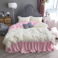 Wholesale solid quilted bedding for sale - coral baby fleece winter bedding set bed skirt flat sheet and fitted sheet supply four size solid color sleep quickly and nojoy the dream