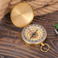 Wholesale Outdoor Family Activities - Portable Outdoor Activities Camping Hiking Luminous Compass Portable Brass Pocket Golden Compass Navigation 50mm Diameter Retail Box