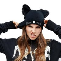 Женщины Knnitted Wool Skullies Beanies Hats Cute Cat Ear Pompoms Mink Fur Winter Warm Femme Harajuku Bonnets Caps Lovely Cat Beard