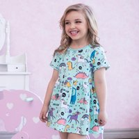 Wholesale pale pink girls dresses - Cute Girl Dress 100% Cotton Summer Dress Animals Appliqued Kids Short Sleeve Dress with Unicorn Baby Girl Clothing